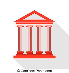 Historical building illustration. Red icon with flat style shadow path.