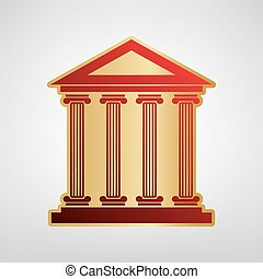 Historical building illustration. Vector. Red icon on gold sticker at light gray background.