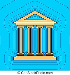 Historical building illustration. Vector. Sand color icon with black contour and equidistant blue contours like field at sky blue background. Like waves on map - island in ocean or sea.