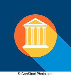 Historical building illustration. Vector. White icon on tangelo circle with infinite shadow of light at cool black background. Selective yellow and bright navy blue are produced.
