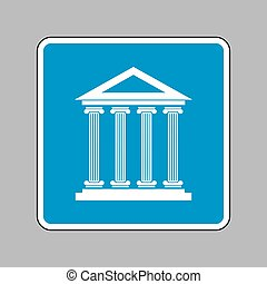 Historical building illustration. White icon on blue sign as bac