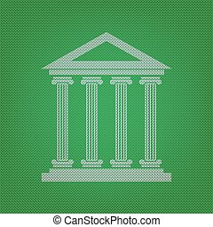 Historical building illustration. white icon on the green knitwe