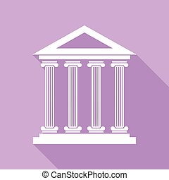 Historical building illustration. White Icon with long shadow at purple background. Illustration.