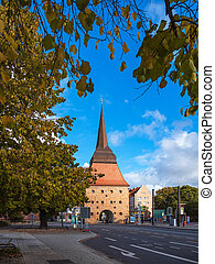 Historical building in autumn in the city Rostock, Germany.