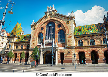 Historical Building of Central Market Hall In Budapest, Hungary