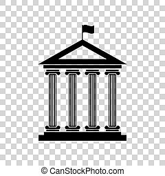 Historical building with flag. Black icon on transparent backgro