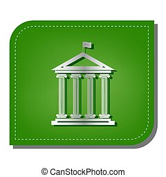 Historical building with flag. Silver gradient line icon with dark green shadow at ecological patched green leaf. Illustration.