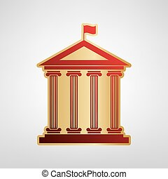 Historical building with flag. Vector. Red icon on gold sticker at light gray background.