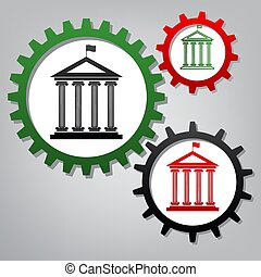 Historical building with flag. Vector. Three connected gears...