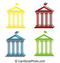 Historical building with flag. Vector. Yellow, red, blue, green