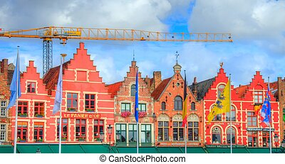 historical buildings in bruges, be