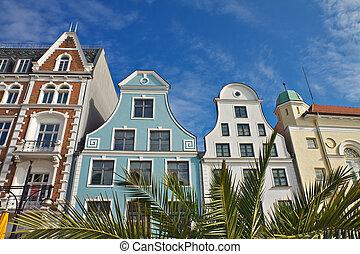 Historical buildings in Rostock (Germany).