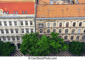 Historical buildings in the city center of Budapest
