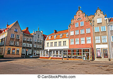 Historical buildings in the old town Gdansk