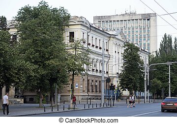 Historical buildings on the streets of Chisinau.