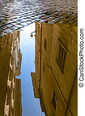 historical buildings reflection in a puddle