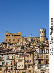 Historical castle and church on top of the hill in Valderrobres