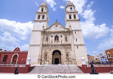 Beautiful architectural design in the facade of the Cathedral of Our Lady of the Immaculate Conception in historical downtown Campeche, Mexico on sunny day