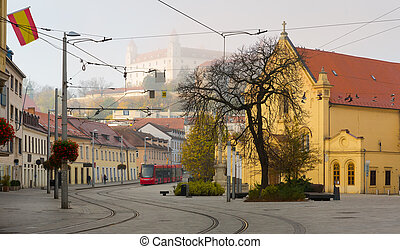 Historical center of Bratislava with colorful streets