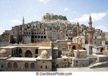 Turkey tourism city... Mardin stone homes.. Tourism concept