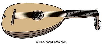 Historical classical lute - Hand drawing of a classic lute