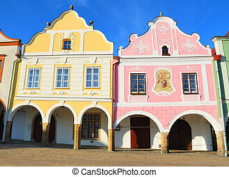 Historical colorful houses in the city center of Telc in ...