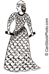 Sumerian goddess woman or priestess - historical costume -...