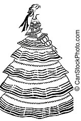 women party dress with crinoline - historical costume - ...