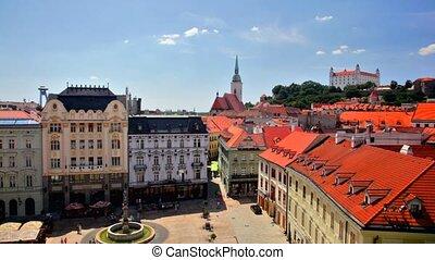 Historical downtown Bratislava - BRATISLAVA, SLOVAKIA - JULY...