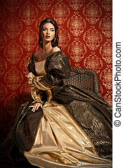 historical dress - Full length portrait of a beautiful young...