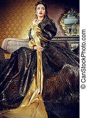 historical dress - Renaissance Style - beautiful young woman...