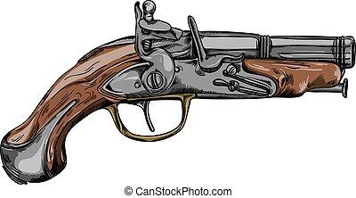 Historical dueling pistol