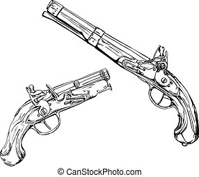 Historical dueling pistols