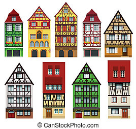 Historical European houses - Vector illustration of classic ...
