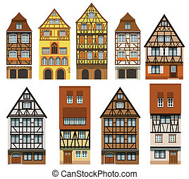 Historical European houses - Vector illustration of various ...