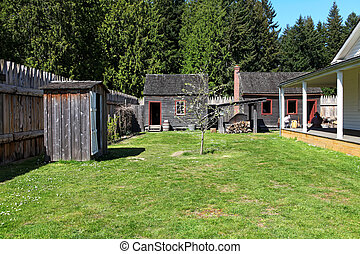 Historical Fort Nisqually. Spring time.