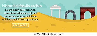 Historical fossils arches banner horizontal concept