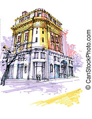 historical Georgia building. Savannah drawing, classical...