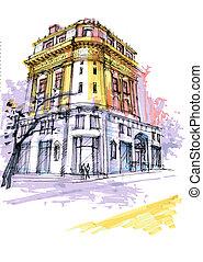 historical Georgia building. Savannah drawing, classical...