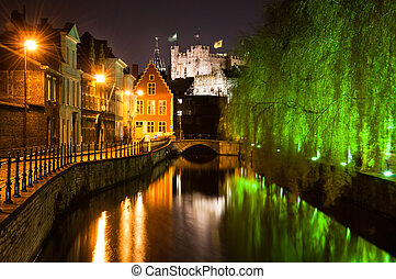 Historical Ghent by night