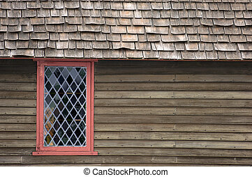 Historical house in Salem - Colorful window in old house in...