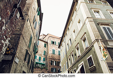 Historical houses in Siena, Italy