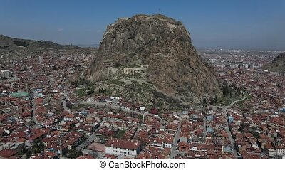 Imposing medieval castle ruins in Afyonkarahisar City of Turkey
