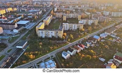 Historical in the city center panoramic aerial cityscape sunset orange light view of Uzhhorod, Ukraine
