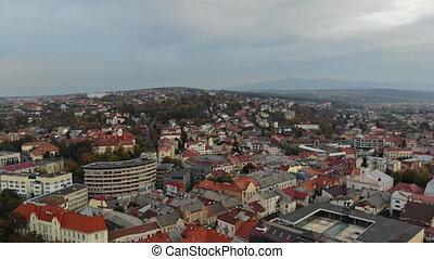 Historical in the city center panoramic aerial cityscape view of Uzhhorod, Ukraine