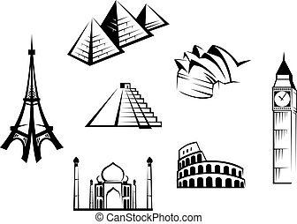 high detail landmarks silhouette set with descriprion of title and rh canstockphoto com clip art sitting clip art sitting