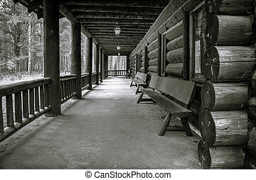 Historical Lodge - Porch of historical log cabin utilized by...