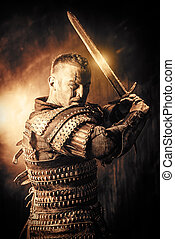 historical man - Portrait of a courageous ancient warrior in...