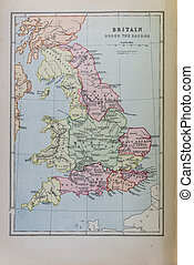 Historical map of Brittain under Saxons. Photo from atlas ...