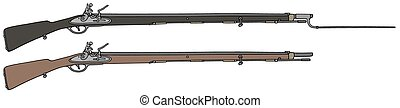 Historical military rifles - Hand drawing of two historical ...